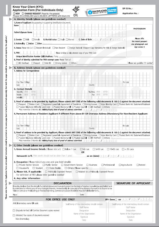 sbi kyc form download